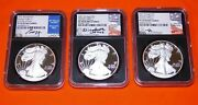 3pc Set 2021-w Proof Silver Eagle Pf70 Uc Fdoi Set Signed By Mercanti Jones Moy