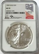 1989 American Silver Eagle 1 Dollar 1 Oz Mercanti Signed Coin Ngc Ms 70