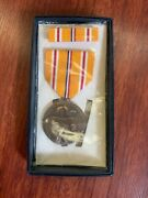 Authentic Ww2 Medal And Pin Set Asiatic Pacific Campaign Very Nice
