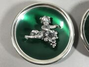 Pair Gorham Sterling Silver Mini 3-d Cherubs With Grapes Wall Plaques