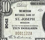 1929 10 The National Bank Of St. Joseph Missouri = Fancy S/n B 001122 A