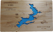 Anstruther Lake, Ontario, Canada- Laser Cut Wood Map