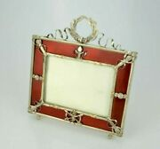 The Photo Frame Is Silver With Gold Inserts And Guilloche Enamel