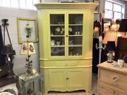 Antique Corner Hutch Glass Top Doors Painted Country English Yellow Bookcase