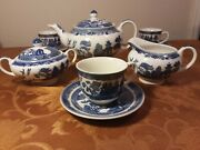 Johnson Bros Blue Willow Teapot 4 Cups/saucers Sugar Creamer - Mint Condition