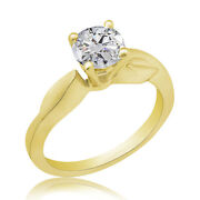 0.71 Ct Simulated Ideal Cut Round Diamond Vintage Ring 14k Yellow Gold