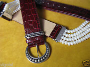 White Pearl Leather Belt Silver Buckle Ring Crocodile Brown Honora Necklace Gift