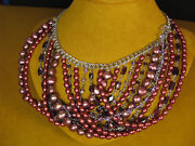Honora Bib Pearl Necklace Strand String Cherry Red Collar Gift Mother's Day