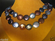 Honora Coin Denim Pearl Necklace Strand String 36 Blue Brown Bronze Ss Luster