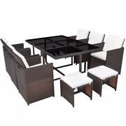 11 Piece Outdoor Furniture Set Patio Poly Rattan Dining Table Cushioned Chairs