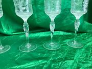 Stevens And Williams Willow Chinoiserie Copper Wheel Cut Wines