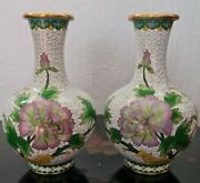 Vintage Chinese Cloisonne Vases Pair 7 Lovely Pair Not Signed Oriental