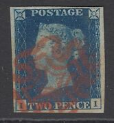 Sg 2 1840 2d Deep Full Blue Plate 2 Lettered Ii. Very Fine Used With A Red...