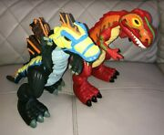 Fisher Price Imaginext 2pc Mega Dinosaur T-rex Lot Red And Green Tested Works