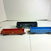 Lionel O Lot Of 3 Rolling Stock Freight Cars Including Lehigh Valley Hopper Car