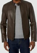 699 Cole Haan Menand039s Brown Leather Full-zip Collared Moto Coat Jacket Size L