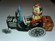 Rare 1930s Marx Tin Toy Clown Driving Whoopie Crazy Car Working Wind Up