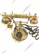 Antique Brass Vintage Rotary Phone Old Fashioned Telephone French Victorian