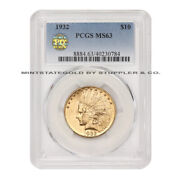1932 10 Gold Indian Head Eagle Pcgs Ms63 Pq Approved Philadelphia Coin