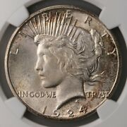 1924-s Peace 1 Ngc Certified Ms62 San Francisco Minted Silver Dollar Coin