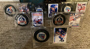 1994 Ny Rangers Stanley Cup Autograpged Pucks/cards Lot Of 6📈messier/graves+