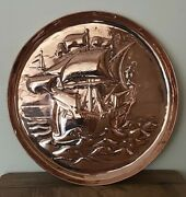 Antique Arts And Crafts Movement Newlyn Copper Ship Tray