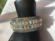 Stunning 1 1/8andrdquo Wide Chunky Blue Rhinestone And Cut Mirrors Cuff Bracelet