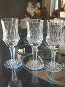Set Of 3 Old Galway Star Cut Foot 6 Claret Cordial Wine