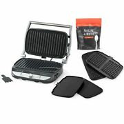Pampered Chef New Deluxe Grill And Griddle Set + Waffle Plates And Waffle Mix
