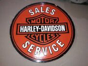 Porcelain Harley Davidson Sign Size 30 Double Sided Pre-owned