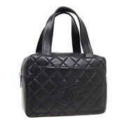 Quilted Cc Logos Hand Bag 6093445 Purse Black Leather Vintage Auth 31458