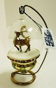 Mostowski Collection Globe With Reindeer Andndash Hand Blown Glass Ornament