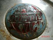 Vintage Used Chrome Triumph Hubcap With World Globe Center