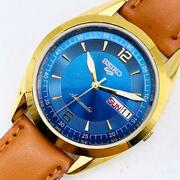 Seiko Blue Gold Men's Watches Mechanical Self-winding Antique Vintage