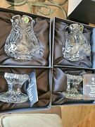 2 Waterford Society Crystal Penrose Hurricane Lamps Signed 1997 Mib