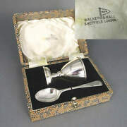 Set Egg Cup And Spoon Walker And Hall Silver