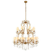 Crystal Chandelier Golden Iron With Shades Foyer Dining Room Kitchen 24 Light