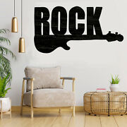 Rock Guitar Cut Out Wood Plaque Signwood Craftcraft Supply Home Decor