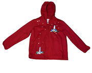 Quacker Factory Lighthouse Zip Hooded Jacket Xl Red