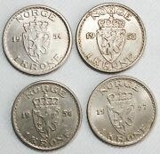 4 Coin Lot 1954-1957 Norway 1 Krone Coins Copper Nickel Content Extra Fine Circ