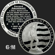 5 - 1 Oz .999 Fine Silver Rounds - Second Amendment - Right To Bear Arms - Bu