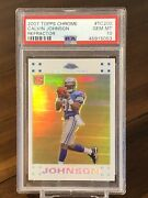 2007 Topps Chrome White Refractor Calvin Johnson Rookie Rc /869 Psa 10 Gem Mint