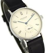 Nomos Tangent Tn1a1w1 Manual Menand039s Watches Ivory Dial Black Leather Belt Good