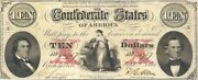 1861 10 Civil War Confederate Currency T-26 Fine Lace Bold Extremely Fine