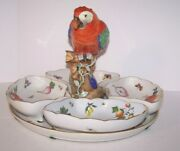Rare Herend Fine Porcelain Parrot Hors Dand039oeuvres Tray 4 Inserts C. 1935