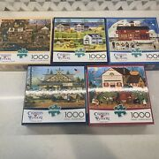 [excellent Condition] Puzzles, Lot Of 5, 1000 Piece, Charles Wysocki's Buffalo