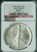 1994 Silver Eagle Ngc Mac Ms-69 Pq First Strike Finest Red Label Mac Spotless .