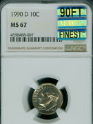 1990-d Roosevelt Dime Ngc Ms67 90ft Pq Mac Finest Rare Mac Spotless 5000 In Ft