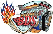 Flamed Blower Dragster Engine Bds Air-loc Vinyl Decal Sticker 4293