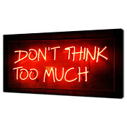 Don't Think Too Much Red Neon Sign Modern Canvas Print Wall Art Picture
